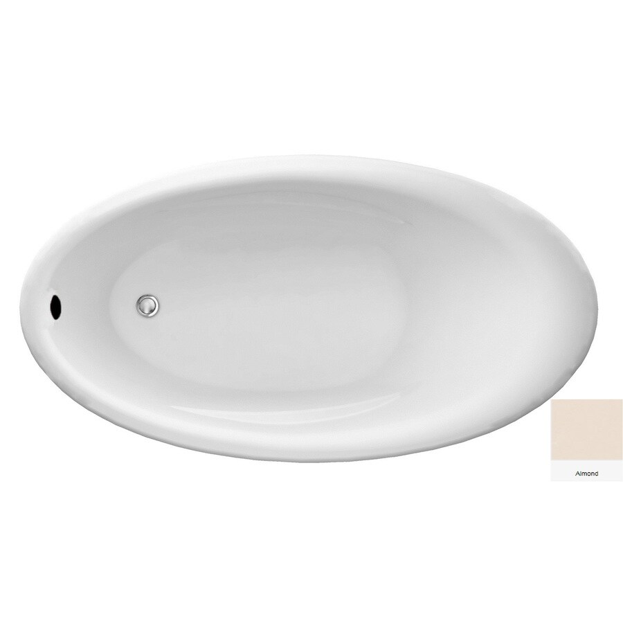 Laurel Mountain Bena Almond Acrylic Oval Drop-in Bathtub with Reversible Drain (Common: 38-in x 69-in; Actual: 22-in x 38-in x 69-in