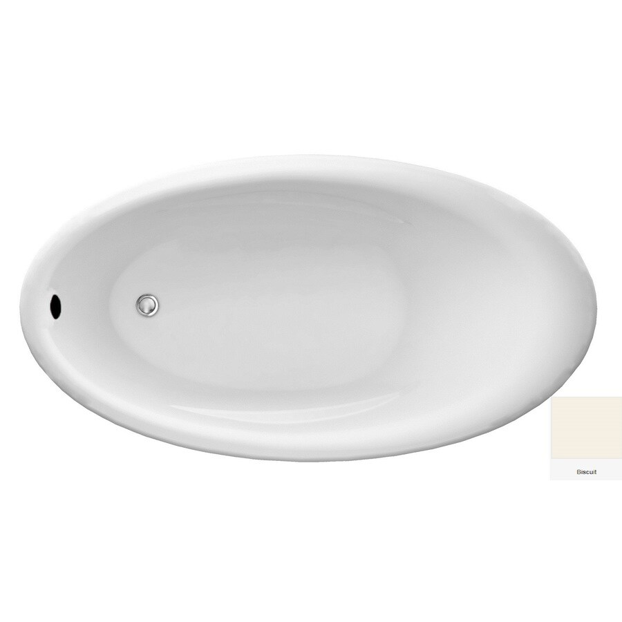 Laurel Mountain Bena Biscuit Acrylic Oval Drop-in Bathtub with Reversible Drain (Common: 38-in x 69-in; Actual: 22-in x 38-in x 69-in
