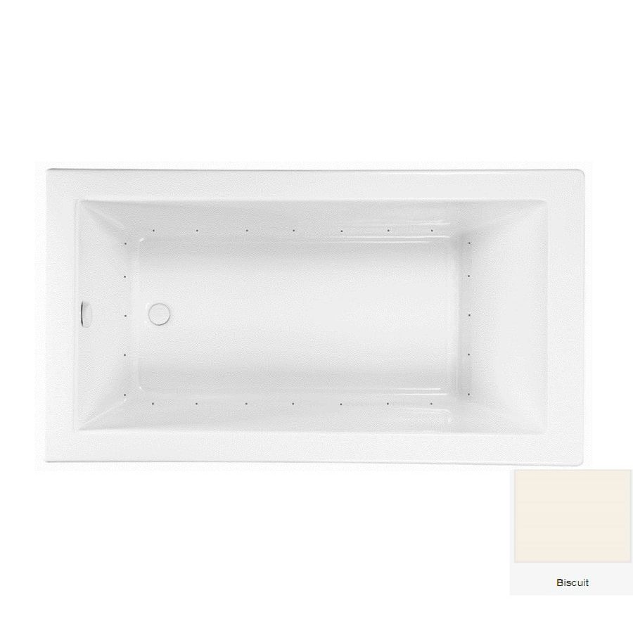 Laurel Mountain Parker 7 72-in Biscuit Acrylic Drop-In Air Bath with Reversible Drain