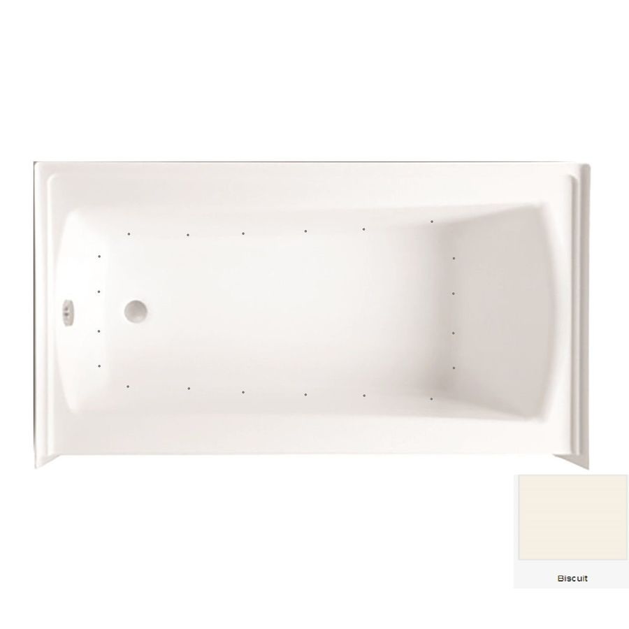 Laurel Mountain Parker 20 60-in Biscuit Acrylic Alcove Air Bath with Left-Hand Drain