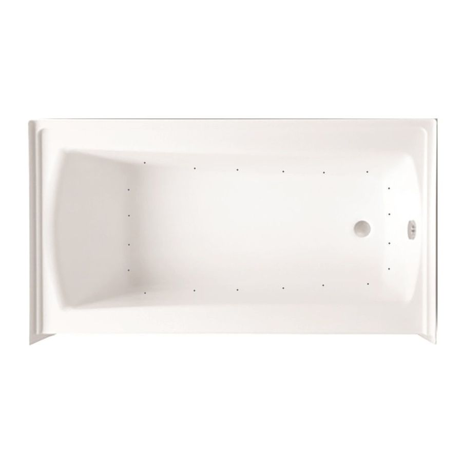 Laurel Mountain Parker 20 60-in White Acrylic Alcove Air Bath with Right-Hand Drain