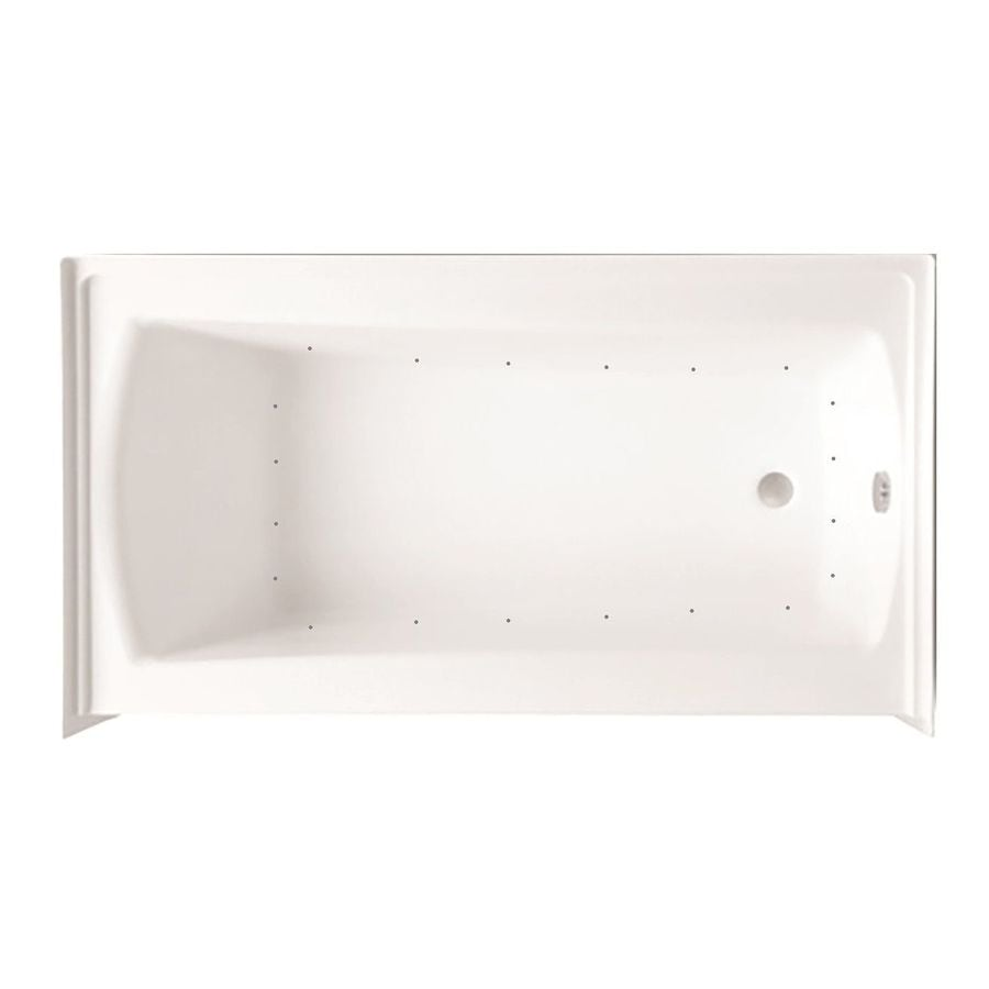 Laurel Mountain Parker 21 60-in White Acrylic Alcove Air Bath with Right-Hand Drain