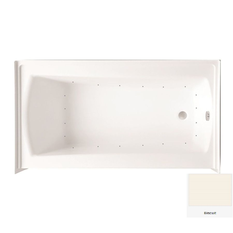 Laurel Mountain Parker 21 60-in Biscuit Acrylic Alcove Air Bath with Right-Hand Drain
