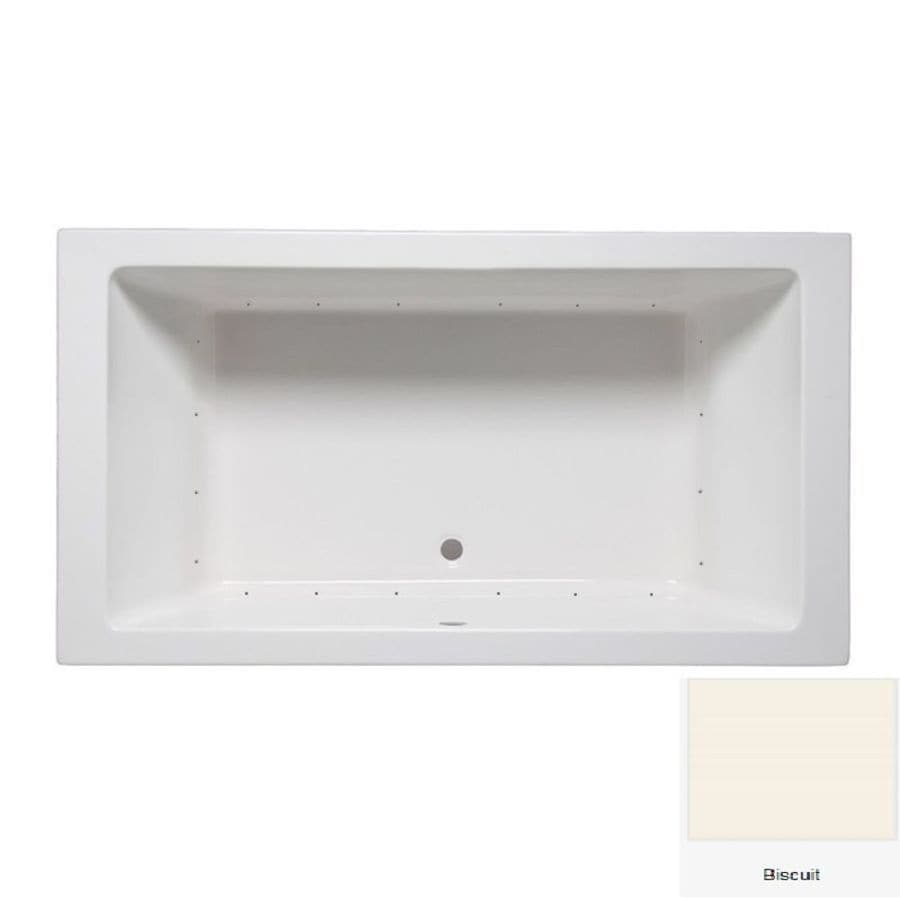 Laurel Mountain Farrell 1 66-in Biscuit Acrylic Drop-In Air Bath with Center Drain