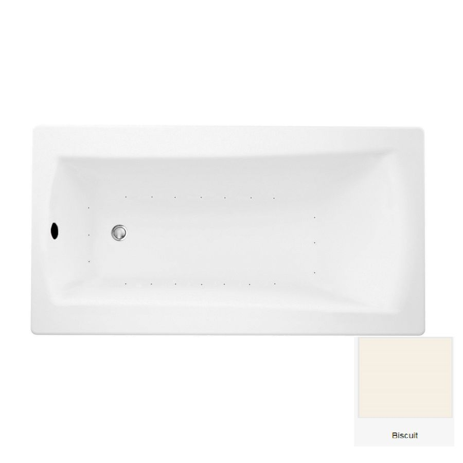 Laurel Mountain Boston 1 60-in Biscuit Acrylic Drop-In Air Bath with Reversible Drain