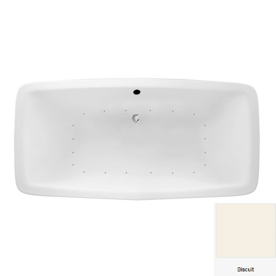 Laurel Mountain Severn 72-in Biscuit Acrylic Drop-In Air Bath with Center Drain