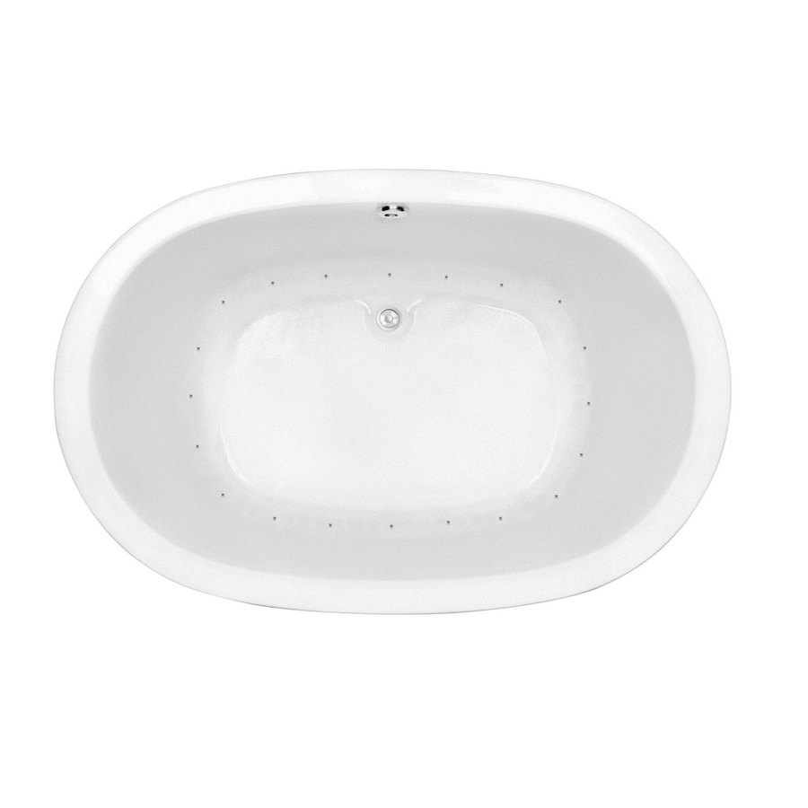 Laurel Mountain Crewe 1 65.75-in White Acrylic Drop-In Air Bath with Center Drain