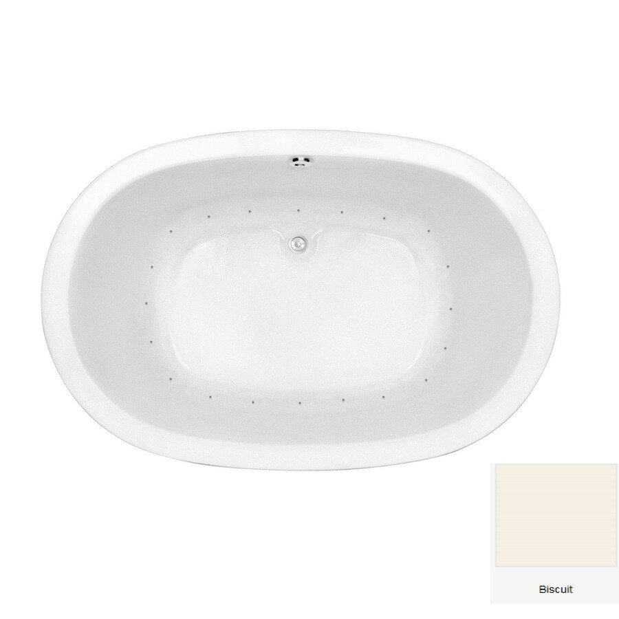 Laurel Mountain Crewe 1 65.75-in Biscuit Acrylic Drop-In Air Bath with Center Drain