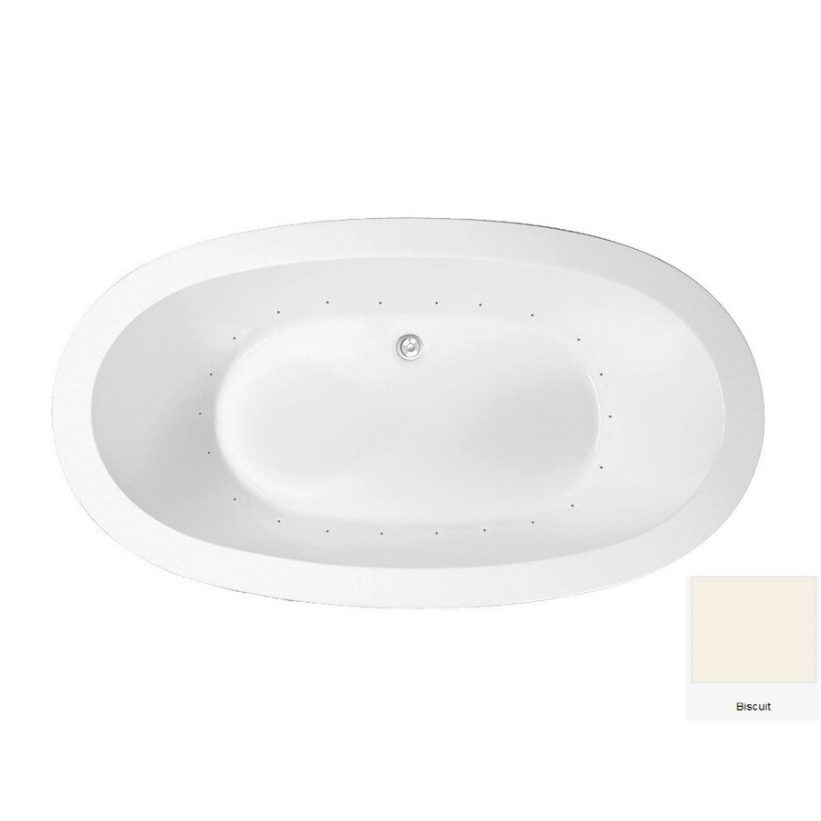 Laurel Mountain Crewe 3 71.75-in Biscuit Acrylic Drop-In Air Bath with Center Drain