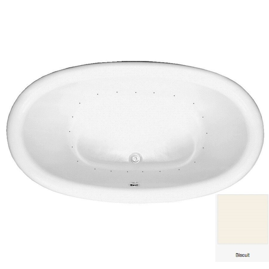 Laurel Mountain Oakton 71.75-in Biscuit Acrylic Drop-In Air Bath with Center Drain