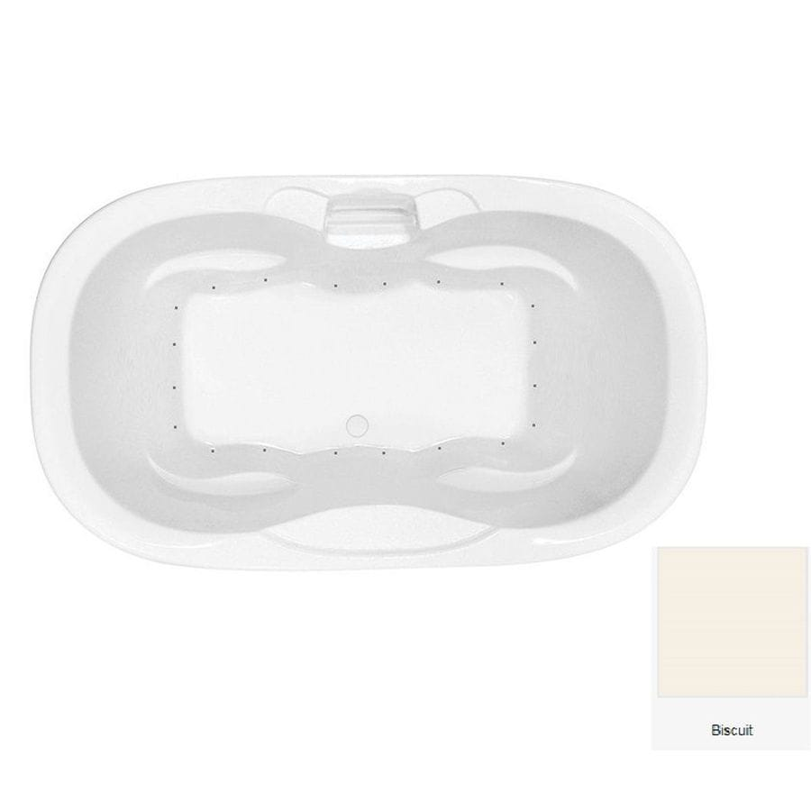 Laurel Mountain Melfa 70-in Biscuit Acrylic Drop-In Air Bath with Center Drain