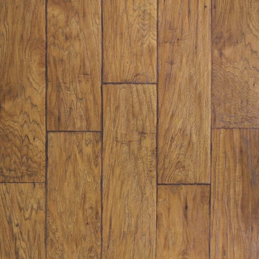 allen + roth 6.14-in W x 4.52-ft L Saddle Hickory Handscraped Wood Plank Laminate Flooring