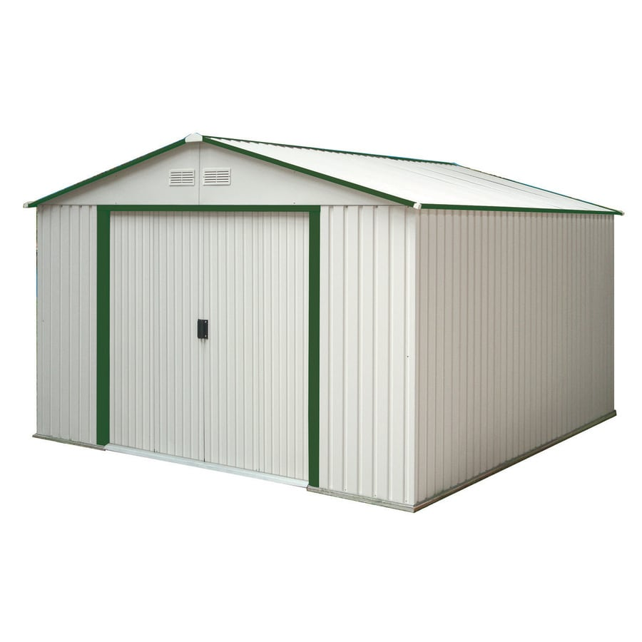 DuraMax Building Products Galvanized Steel Storage Shed (Common: 10-ft x 12-ft; Interior Dimensions: 9.4-ft x 10.9-ft)