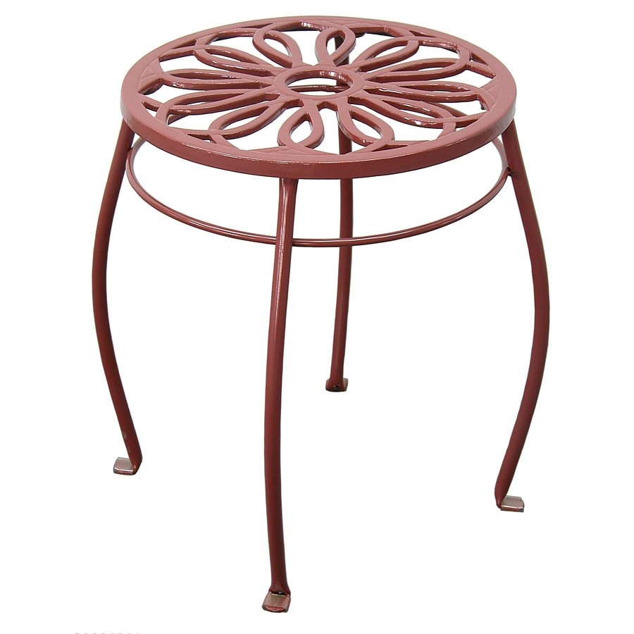 Garden Treasures 15-in Red Round Steel Plant Stand