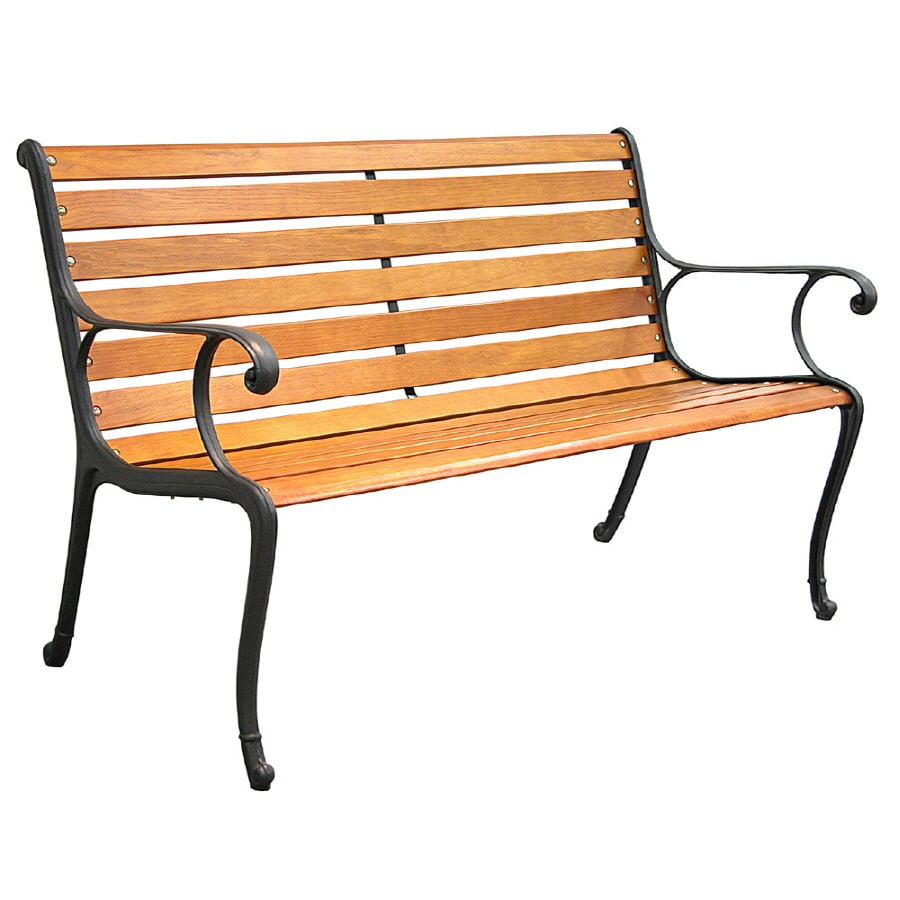 Shop garden treasures 50 5 in l patio bench at Wrought iron outdoor bench