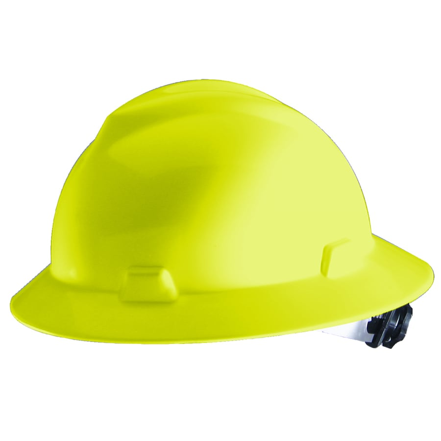 MSA Safety Works Yellow Full Brim Hat with Ratchet at Lowes com