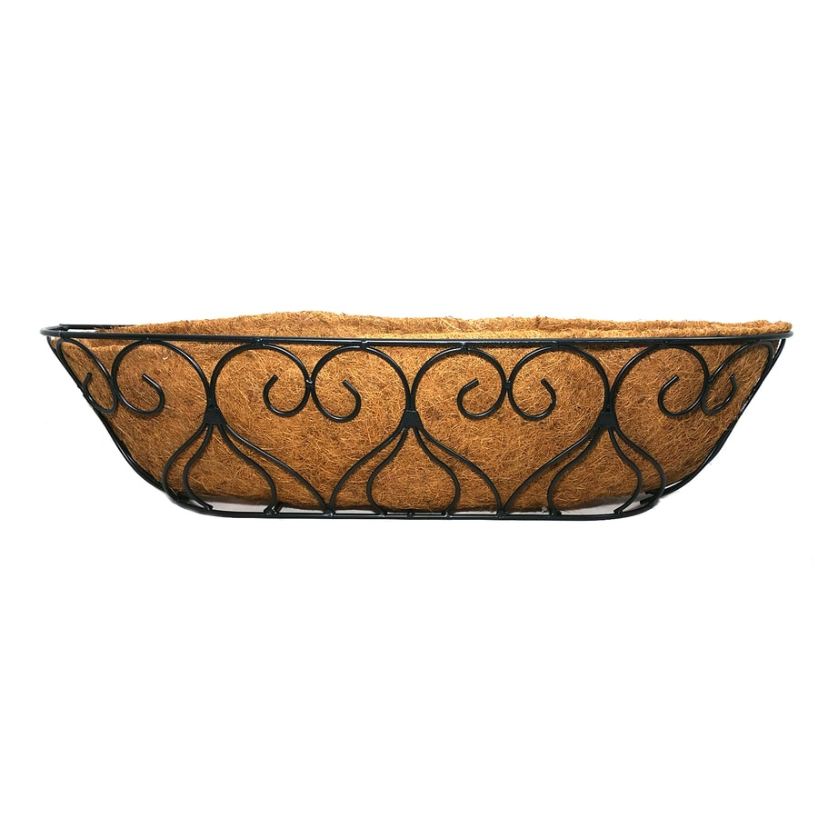 Patio Life 30-in x 7-in Black Metal Traditional Planter