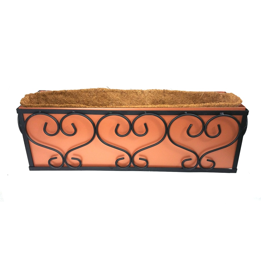 Patio Life 23.7-in x 7.25-in Copper Metal Traditional Planter