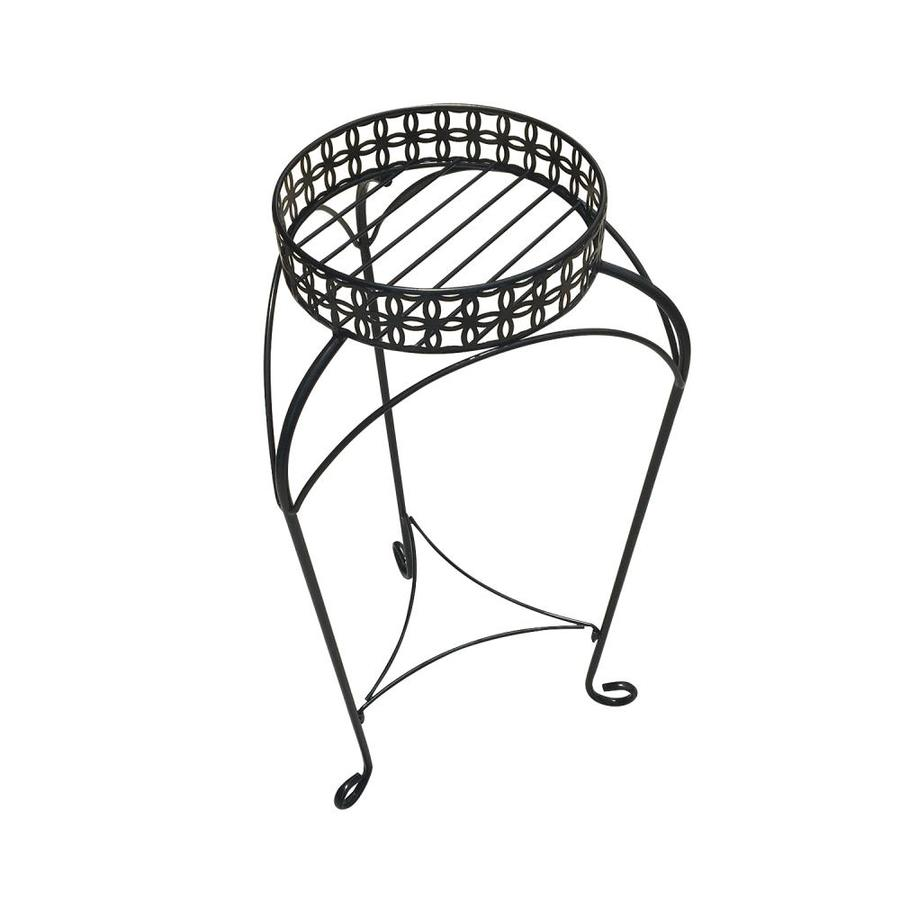 Patio Life Nottingham 30-in Black Indoor/Outdoor Round Steel Plant Stand