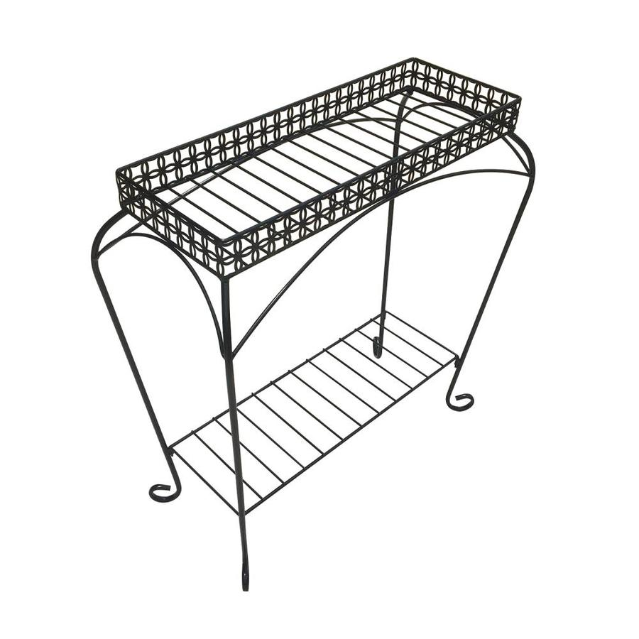 Patio Life Nottingham 30 In Black Indoor/Outdoor Rectangular Steel Plant  Stand