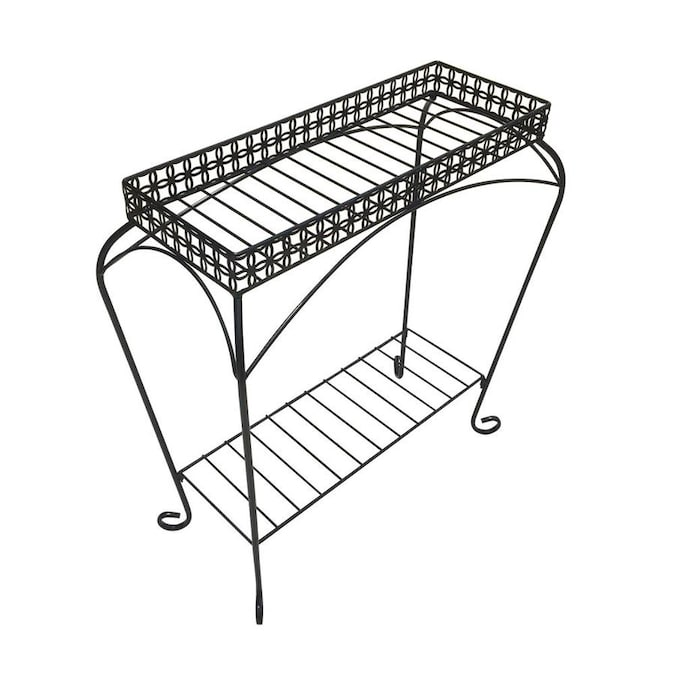 Patio Life Bursa 28 In Black Indoor Outdoor Rectangular Steel Plant Stand In The Plant Stands Department At Lowes Com