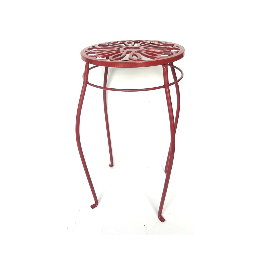Garden Treasures 21-in Red Round Steel Plant Stand