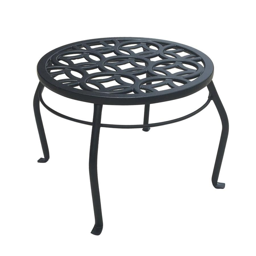 Patio Life 9 In Black Indoor Outdoor Round Steel Plant