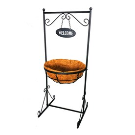 Patio Life 15.25-in W x 36-in H Black Metal Planter