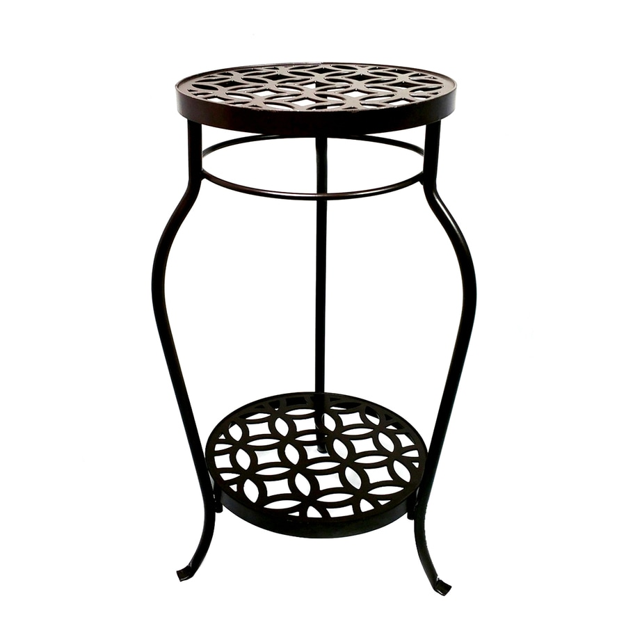 Garden Treasures 21-in Bronze Indoor/Outdoor Round Steel Plant Stand