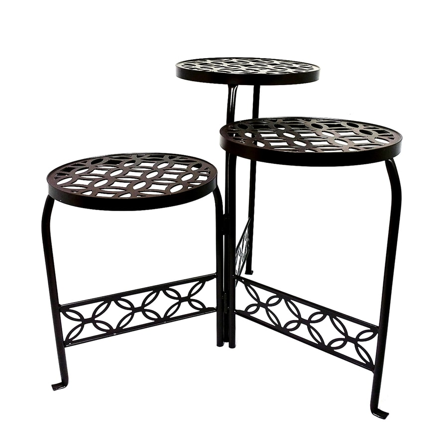 Patio Life 21 In Bronze Indoor/Outdoor Round Steel Plant Stand