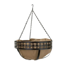 Patio Life 14-in W x 7-in H Brown Metal Hanging Planter