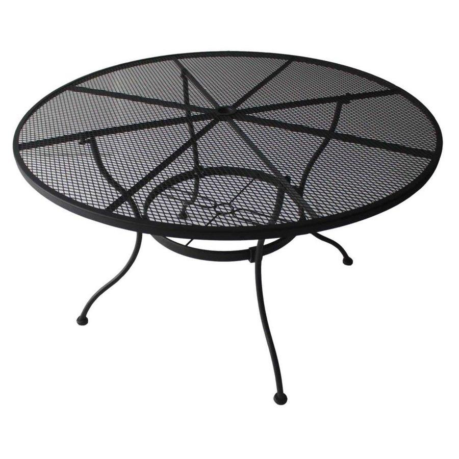 Garden Treasures Davenport 48-in W x 48-in L 4-Seat Round Black Steel Mesh Patio Dining Table