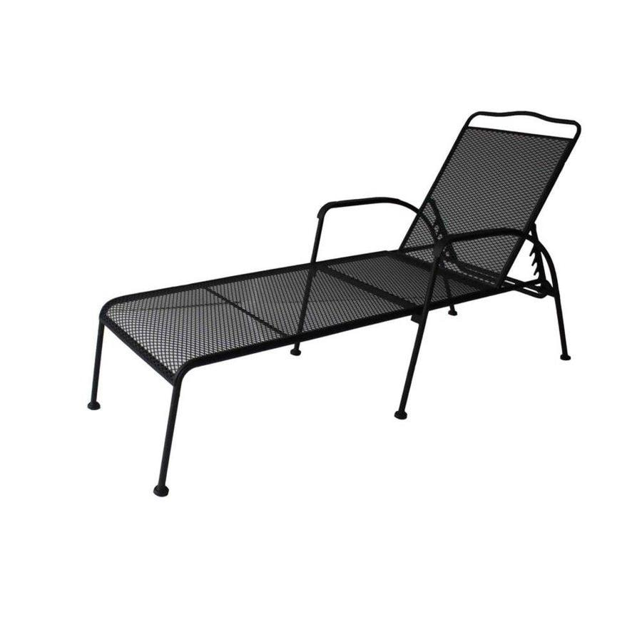 Shop garden treasures davenport black steel mesh 5 for Black outdoor chaise lounge