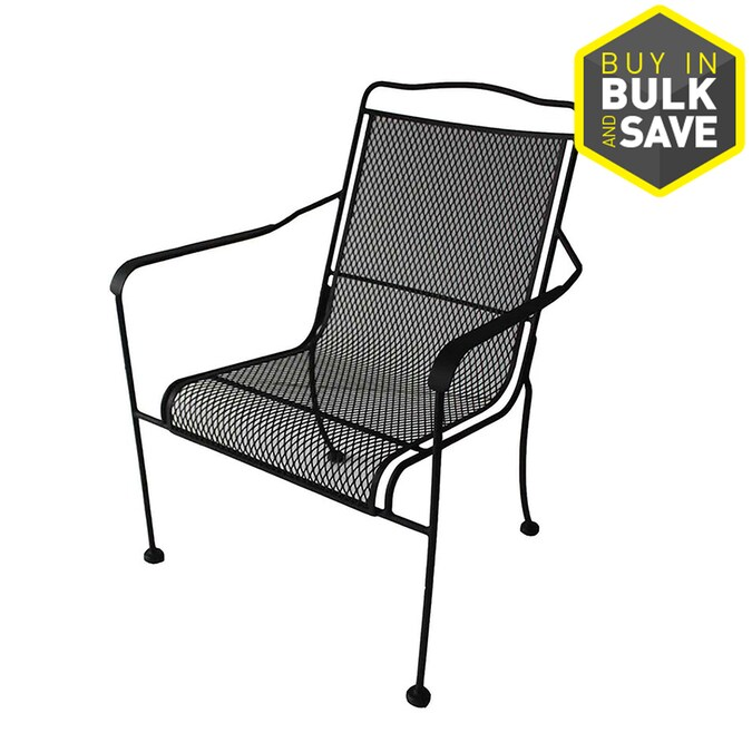 Garden Treasures Davenport Black Steel Stackable Patio Dining Chair In The Patio Chairs Department At Lowes Com