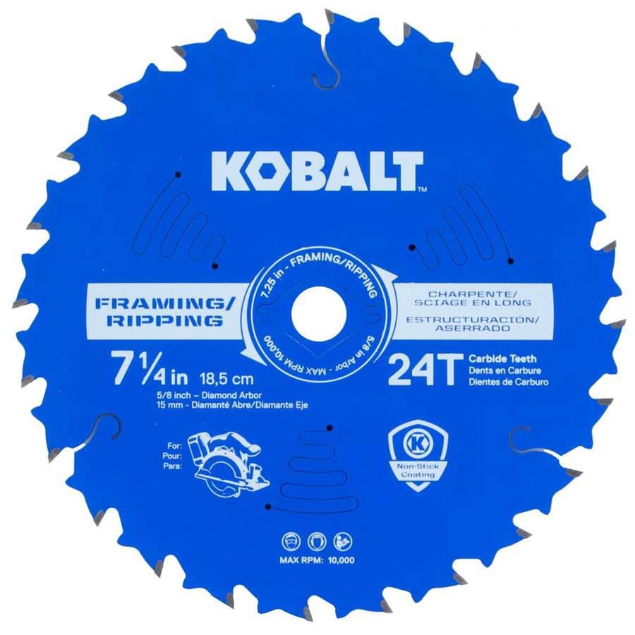 Kobalt 7-1/4-in 24-Tooth Dry Standard Carbide Circular Saw Blade
