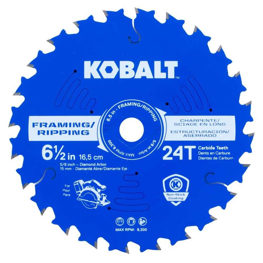 Kobalt 6-1/2-in 24-Tooth Dry Standard Carbide Circular Saw Blade