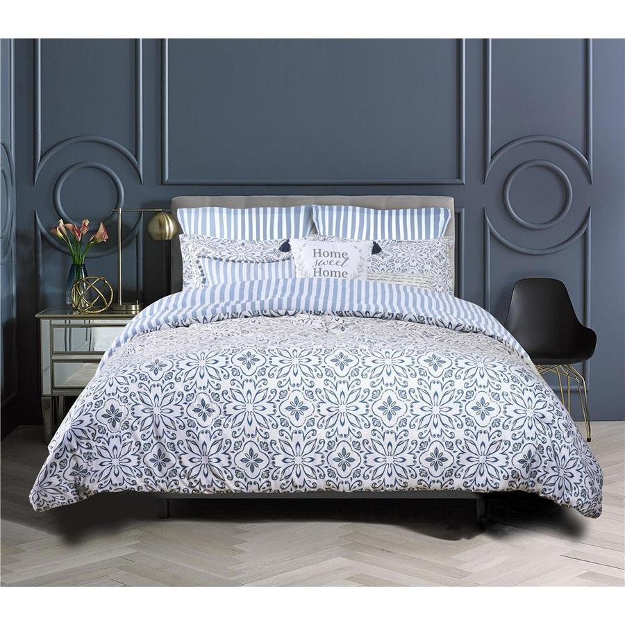 Farmhouse Living 8 Piece Blue Gray Yellow King California King Comforter Set In The Bedding Sets Department At Lowes Com