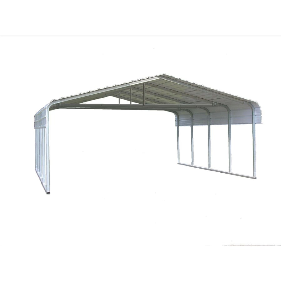 VersaTube 24-ft x 20-ft x 10-ft Silver Metal Metal 2-Car Carport