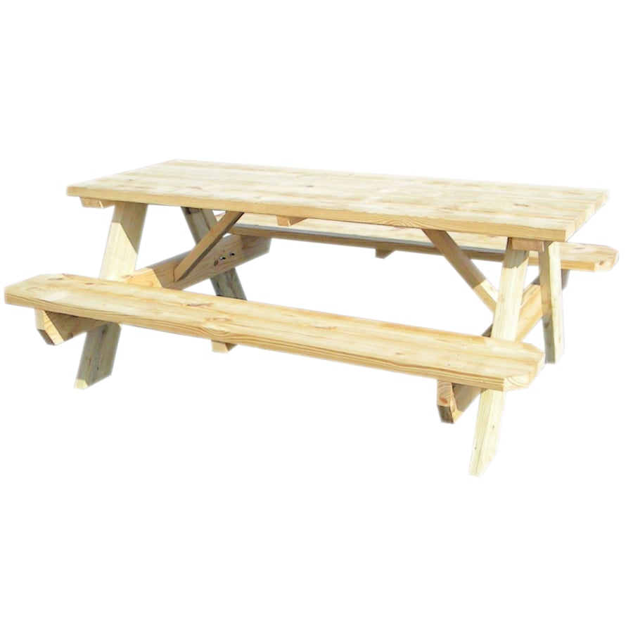 Shop 72 L Wood Rectangular Picnic Table With Benches At