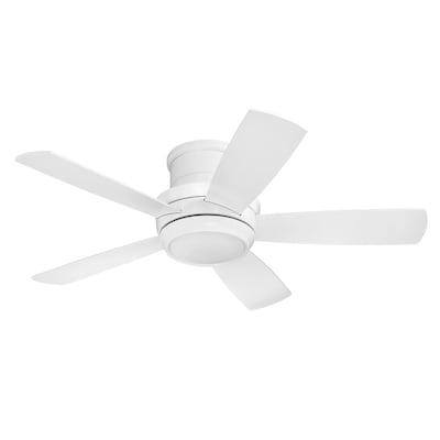Craftmade Tempo 44 In White Led Indoor Residential Flush Mount Ceiling Fan With Light Kit