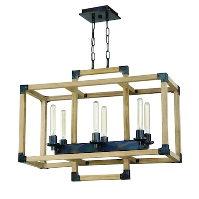 Craftmade Cubic 6-Light Fired Steel/Natural Wood Transitional Chandelier