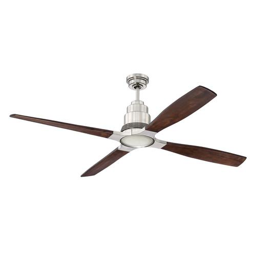 Craftmade Ricasso 60 In Brushed Nickel Led Indoor Ceiling Fan With Light Kit And Remote 4 Blade