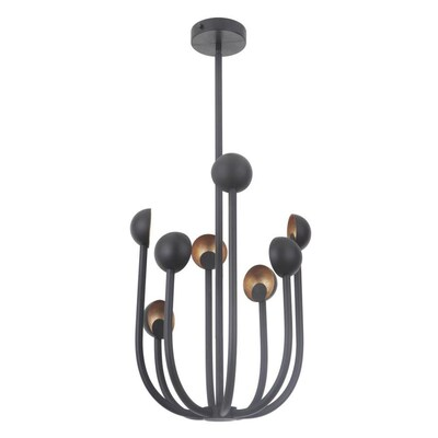 Craftmade Foundry 8 Light Matte Black Gold Leaf Modern