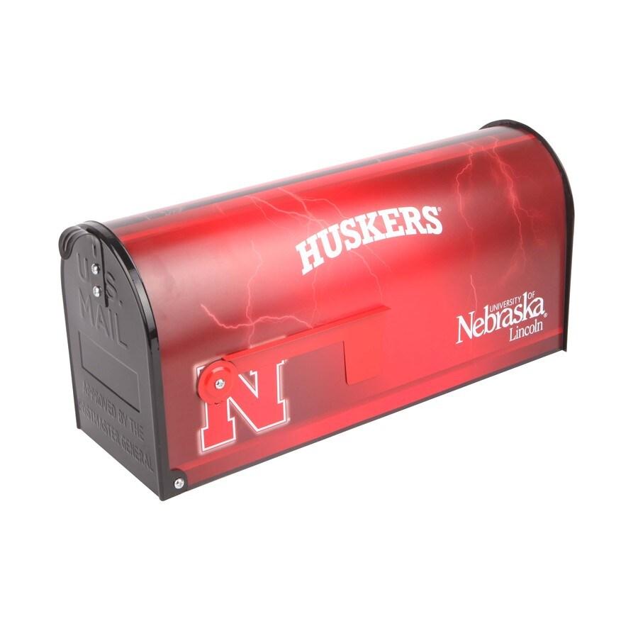 S.A.W. NCAA 7-in x 9-in Metal University Of Nebraska Post Mount Mailbox