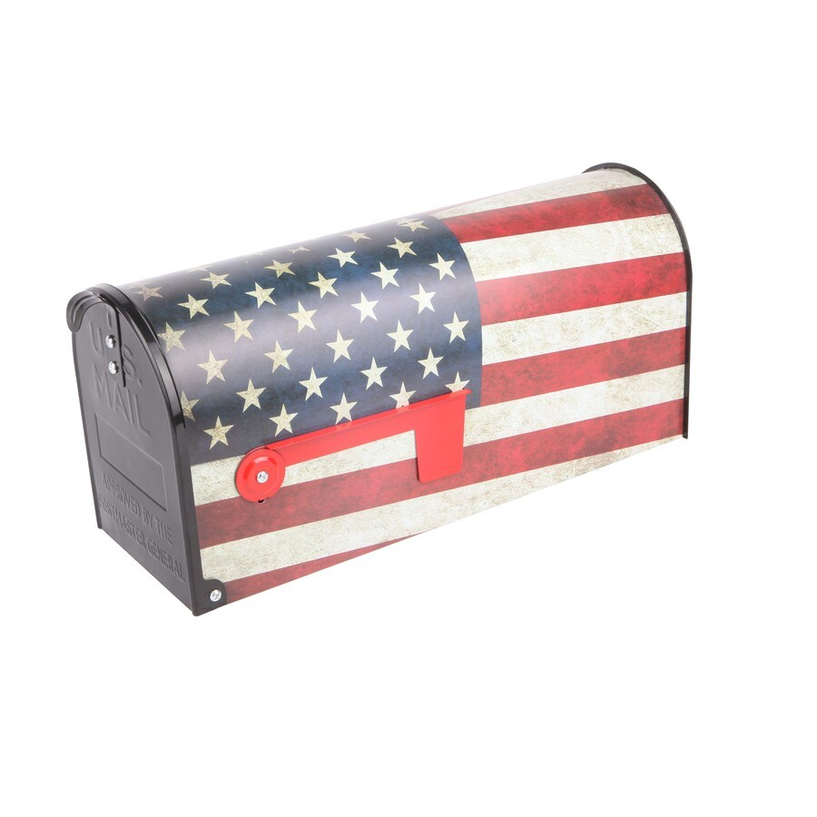 S.A.W. 7-in x 9-in Metal Old Glory Post Mount Mailbox