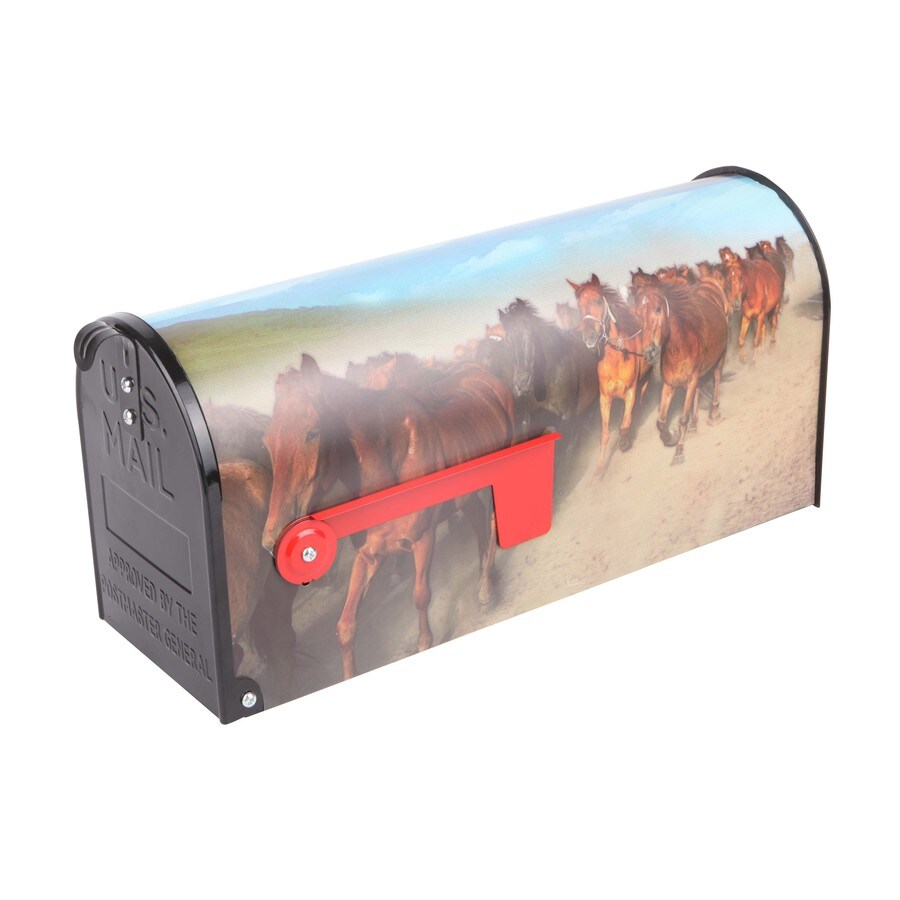 S.A.W. 7-in x 9-in Metal Wild Horses Post Mount Mailbox