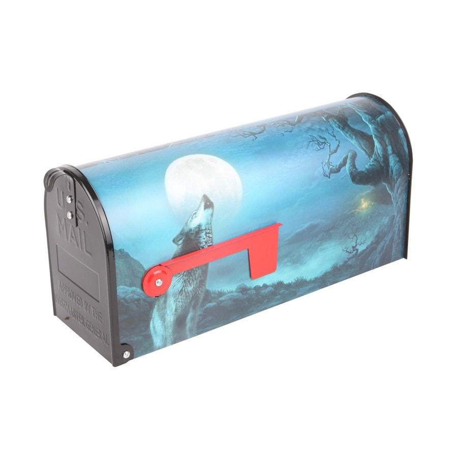 S.A.W. 7-in x 9-in Metal Lone Wolf Post Mount Mailbox