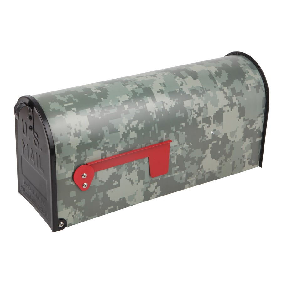 S.A.W. 7-in x 9-in Metal Digital Camo Post Mount Mailbox