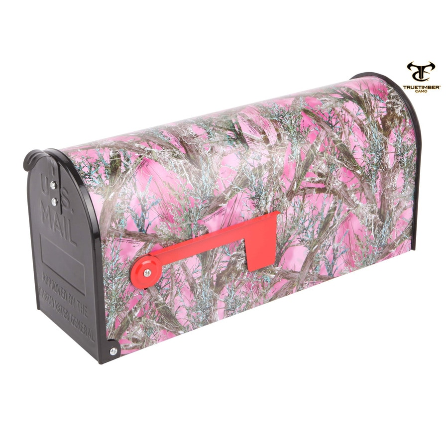 S.A.W. 7-in x 9-in Metal Mc2 Pink Post Mount Mailbox