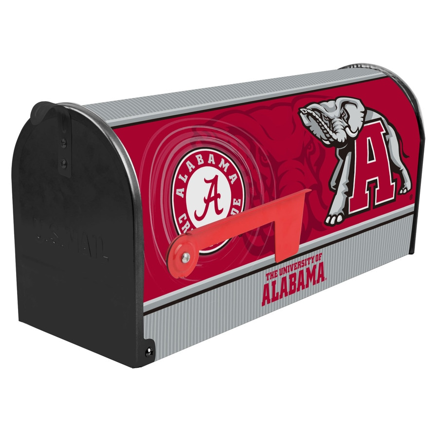 S.A.W. NCAA 7-in x 9-in Metal University Of Alabama Post Mount Mailbox